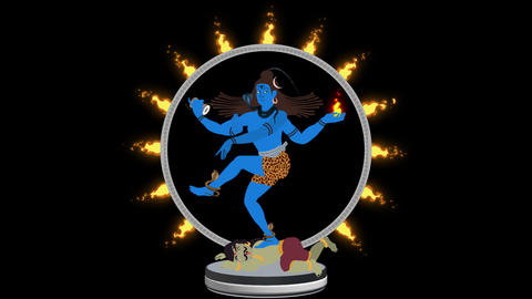 Lord Shiva the Destroyer Crashing Apasmara in a Ring of Fire Alpha Channel Archivo