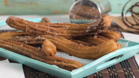 Traditional churros with hot chocolate Footage