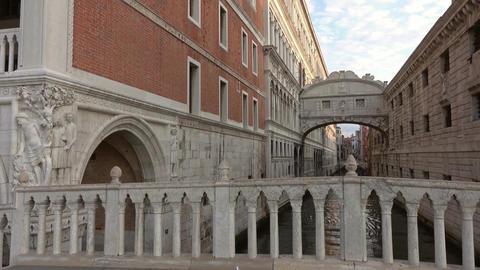 Bridge of Sighs or Ponte dei Sospiri in Venice Footage