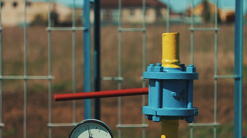 Gas storage and supply station. Pipelines for gas transportation. Stop valves Footage
