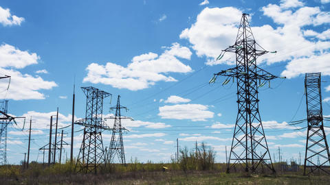 Power line supports. Energy industry. high voltage wires. Renewable clean energy Footage