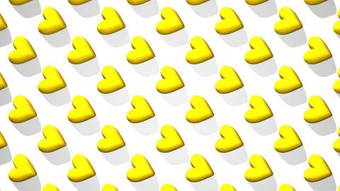 Yellow Hearts Abstract On White Background CG動画