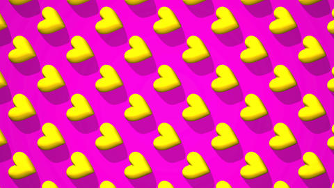 Yellow Hearts Abstract On Pink Background CG動画