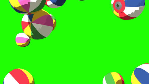 Japanese Paper Balloons On Green Chroma Key CG動画