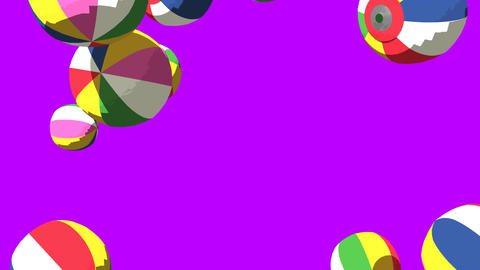 Japanese Paper Balloons On Purple Background Animation