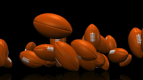Bouncing Rugby Balls On Black Background CG動画
