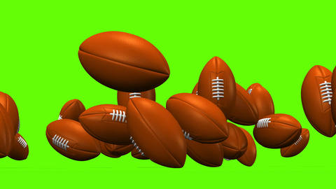 Bouncing Rugby Balls On Green Background CG動画