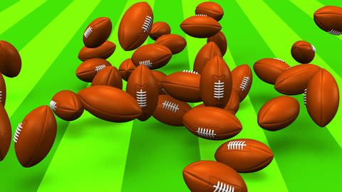 Bouncing Rugby Balls On Rugby Field Animation