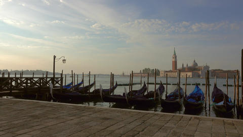 Panorama of the embankment at morning in Venice Footage