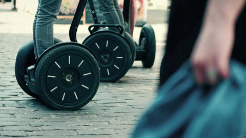 Guided segway tour in a tourist place Footage