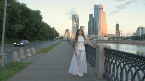 Beautiful girl with long hair in white clothes Footage