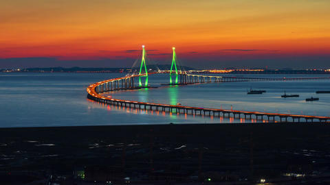 Time lapse of incheon bridge in South Korea.Zoom out Footage