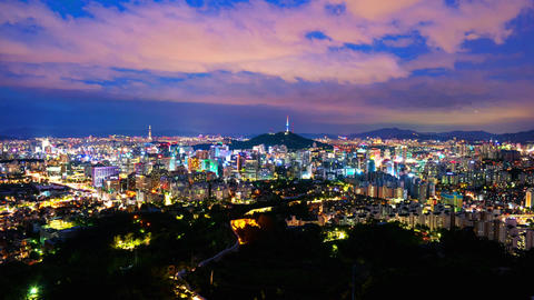 Time lapse of Seoul City Skyline,South Korea Live Action