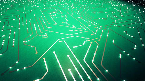 Flying over the chip with a flying electrons. Green color Animation