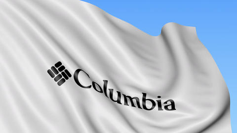 Waving flag with Columbia Sportswear logo. Seamles loop 4K editorial animation Live Action