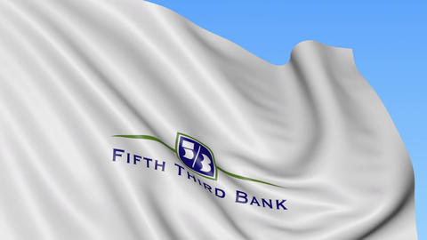 Waving flag with Fifth Third Bank logo. Seamles loop 4K editorial animation Footage