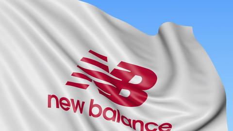 Waving flag with New Balance logo. Seamles loop 4K editorial animation Footage