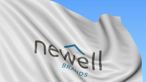 Waving flag with Newell Brands logo. Seamles loop 4K editorial animation Live Action