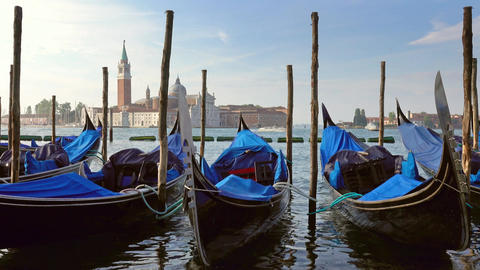 Gondolas on Canal Grande in Venice, Italy Footage