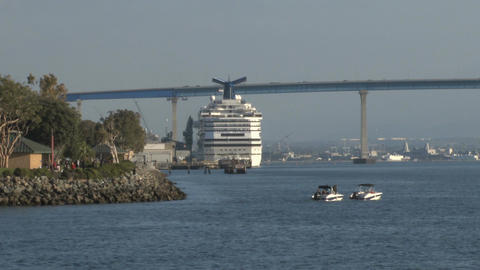 Cruise ship ported at san diego Footage