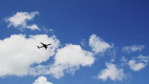 Airplane across sky Footage