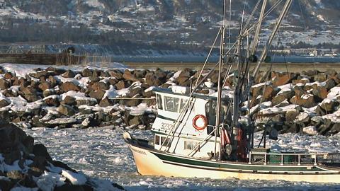 Fishing boat heading into harbor Footage