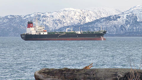 Oil tanker by snowy mountains Footage