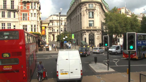 Moving view from double decker bus in england Footage