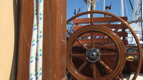Shiny wooden sailboat steering wheel Footage