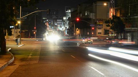 Streetside night cars timelapse Footage