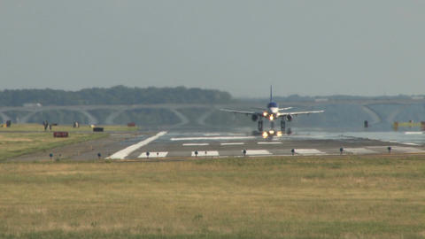 Plane taking off from runway Footage