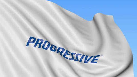 Waving flag with Progressive Corporation logo. Seamles loop 4K editorial Footage