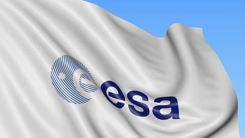 Waving flag with European Space Agency logo. Seamles loop 4K editorial animation Live Action