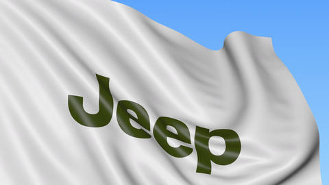 Waving flag with Jeep logo. Seamles loop 4K editorial animation Live Action