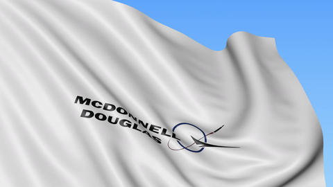 Waving flag with Mcdonnell Douglas logo. Seamles loop 4K editorial animation Live Action