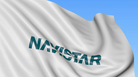 Waving flag with Navistar International logo. Seamles loop 4K editorial Footage