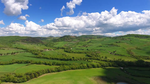 Tuscany aerial landscape of farmland hill country Footage
