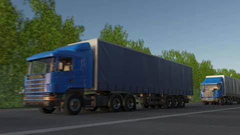 Freight semi trucks convoy Footage