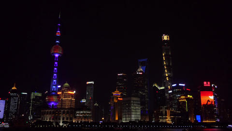 The Bund Of Shanghai China Asia Chinese City At Night Footage