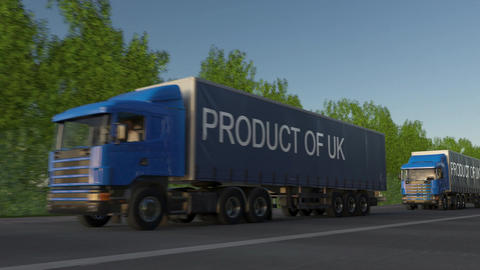 Moving freight semi trucks with PRODUCT OF UK caption on the trailer Live Action