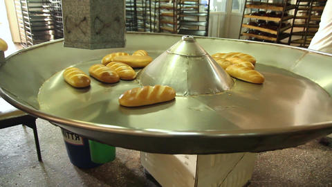 Unloading of bread from the conveyor Live Action