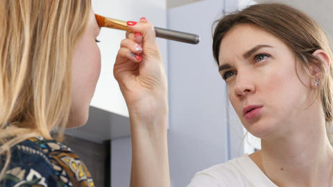 Woman Professional Makeup Artist Works with Actress Live Action