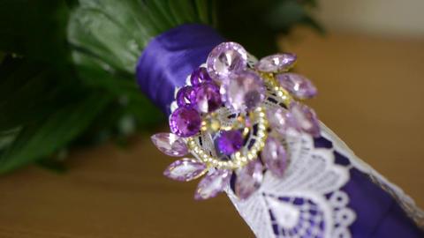 Tender bridal bouquet top view. Bride's bouquet Footage