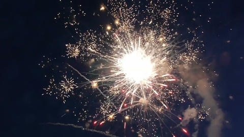 Colorful fireworks at holiday night HD Footage