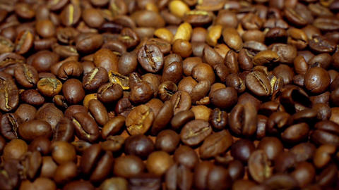 Macro dolly shot of coffee beans Footage