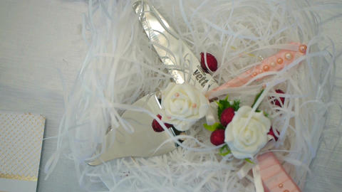 Detail of wedding cake cutting by newlyweds Wedding cake Footage