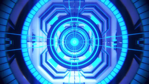 3D Blue Sci-Fi Tech Tunnel Loopable Motion Background Animation