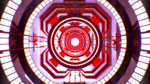 3D Red Sci-Fi Tech Tunnel Loopable Motion Background Animación