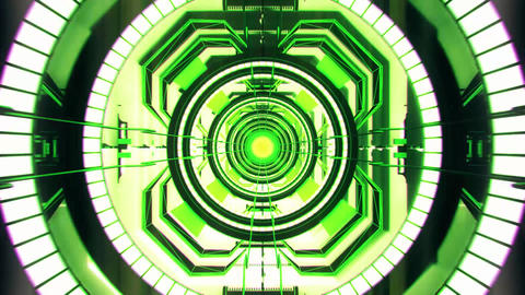 3D Green Sci-Fi Tech Tunnel Loopable Motion Background Animation