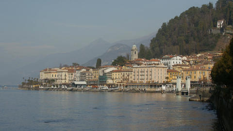 BELLAGIO, ITALY -CIRCA February 2017: the village of Bellagio on the lake Como Footage